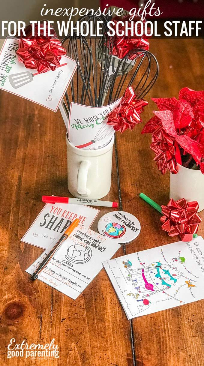 Teacher appreciation and Christmas gifts for your child's school staff that won't break the bank.