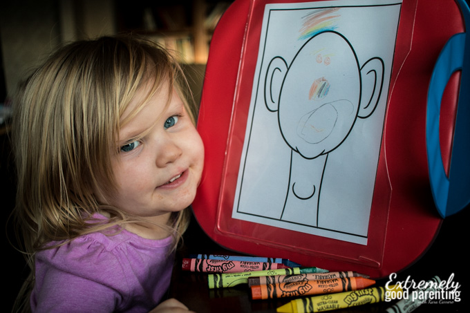 Practicing self portraits and learning about facial features in tot school #preschool #totschool #learnthroughplay