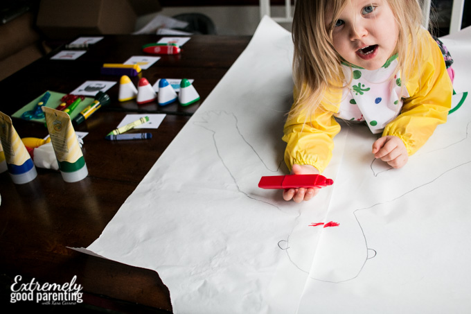 life size body part art project for 3 year old toddler