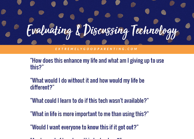 Printable of questions for kids and teens to ask of new technology