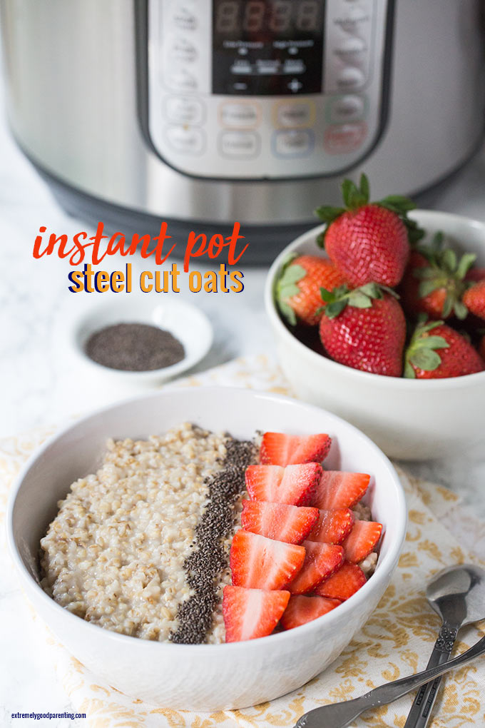 How to make steel cut oats in an instant pot; topped with chia and strawberries